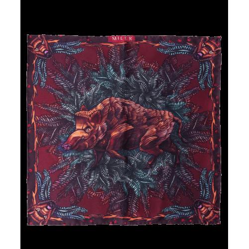 Bordowo-niebieska poszetka z dzikiem