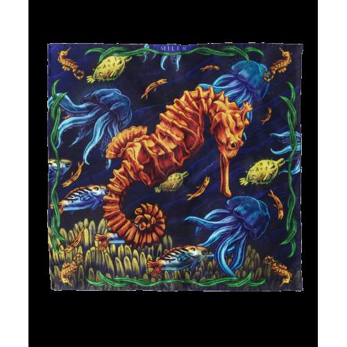 Granatowo-złota poszetka z konikiem morskim