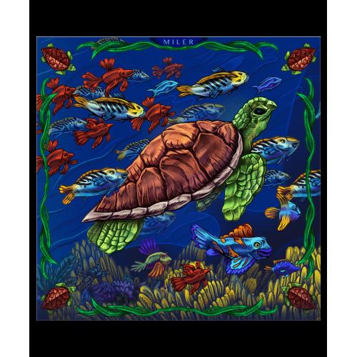 Niebiesko-zielona poszetka z żółwiem