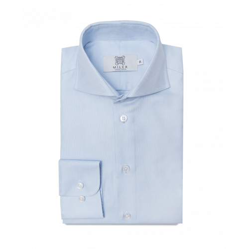 Koszula niebieska Oxford z kołnierzem włoskim