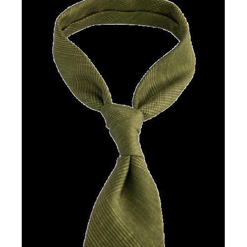 Musztardowy krawat w kratę księcia Walii