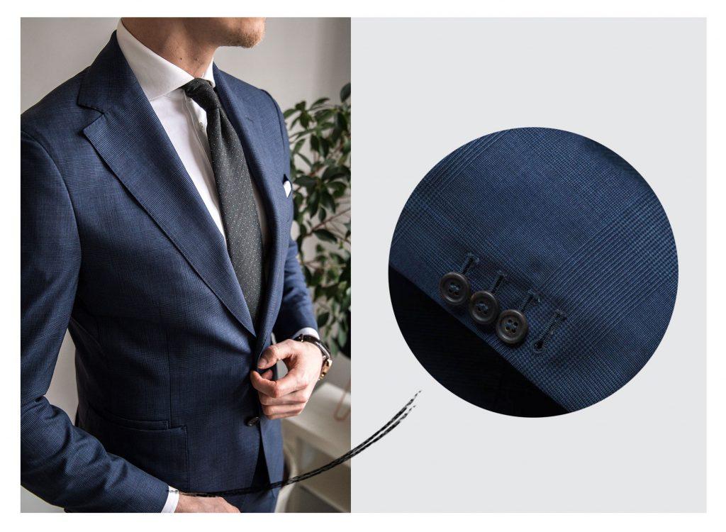 Granatowy garnitur w kratkę